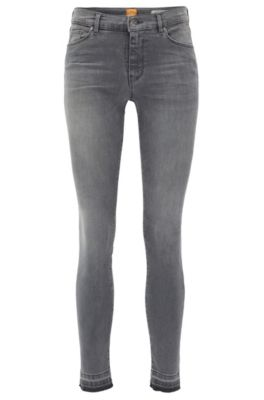 Jean raccourci Skinny Fit en denim power-stretch gris moyen, Gris