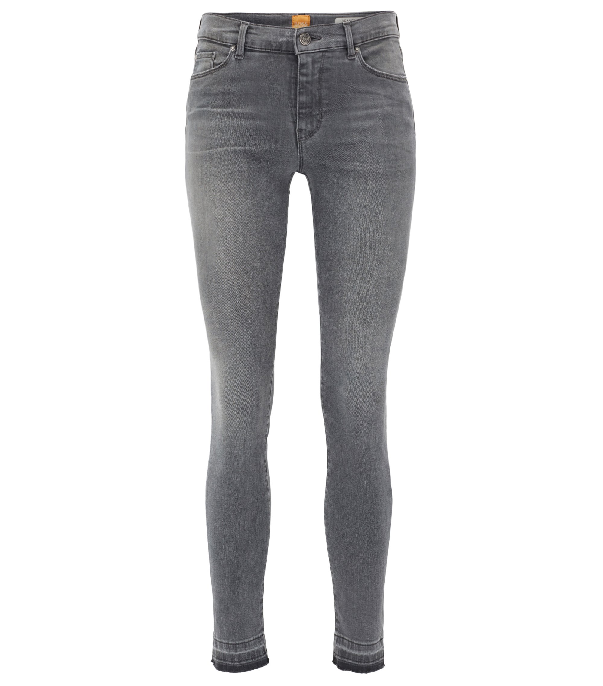 Skinny-fit cropped mid-grey jeans in power-stretch denim, Grey