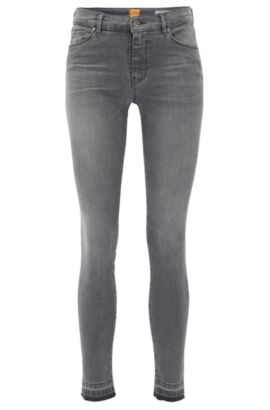 Kortere, skinny-fit jeans van middelgrijs superstretch denim, Grijs