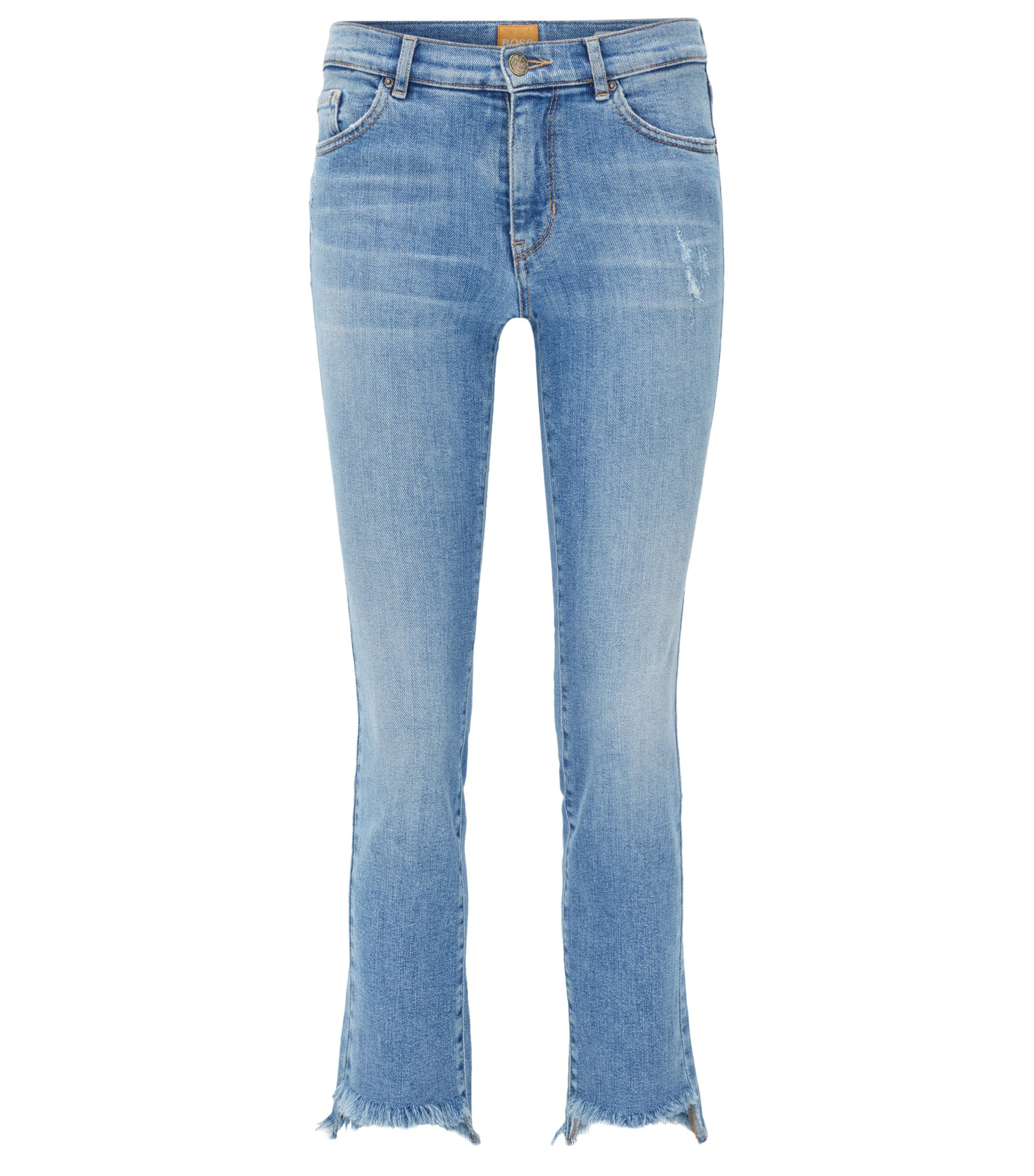 Cropped open-hem slim-fit jeans in distressed stretch denim, Blue