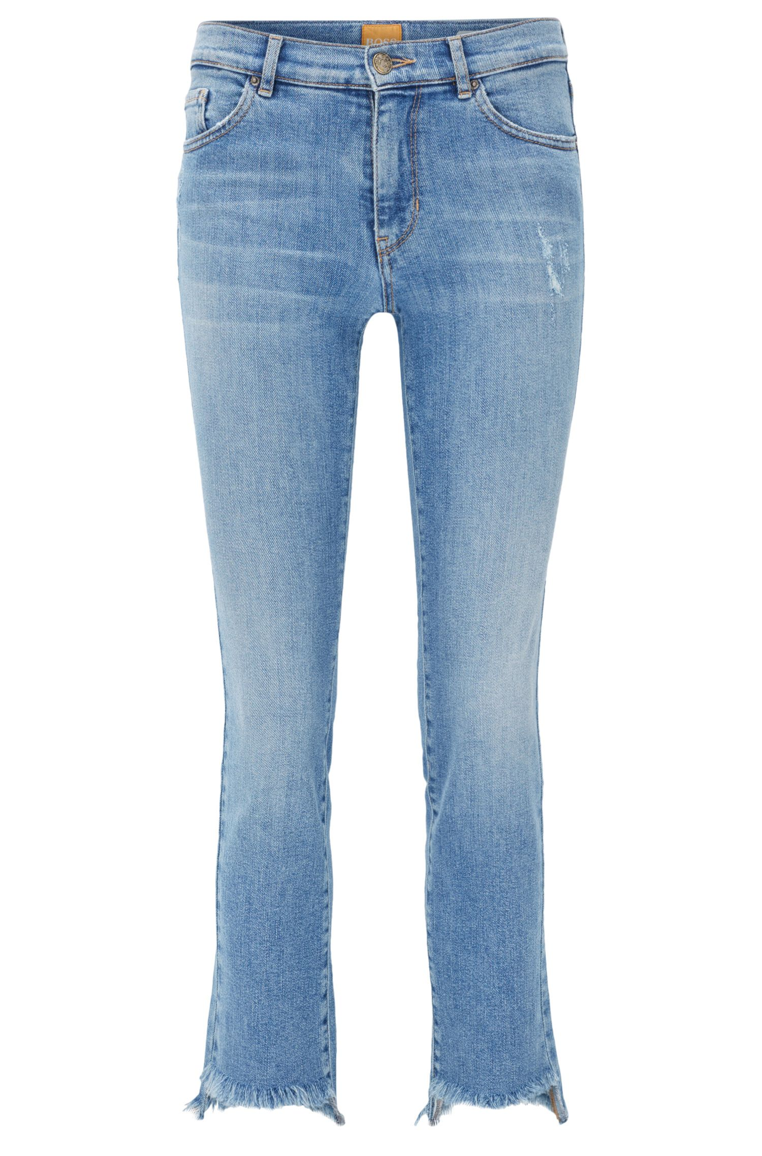 Cropped open-hem slim-fit jeans in distressed stretch denim