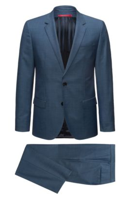Costume Slim Fit en laine vierge à micro-motif, Bleu vif