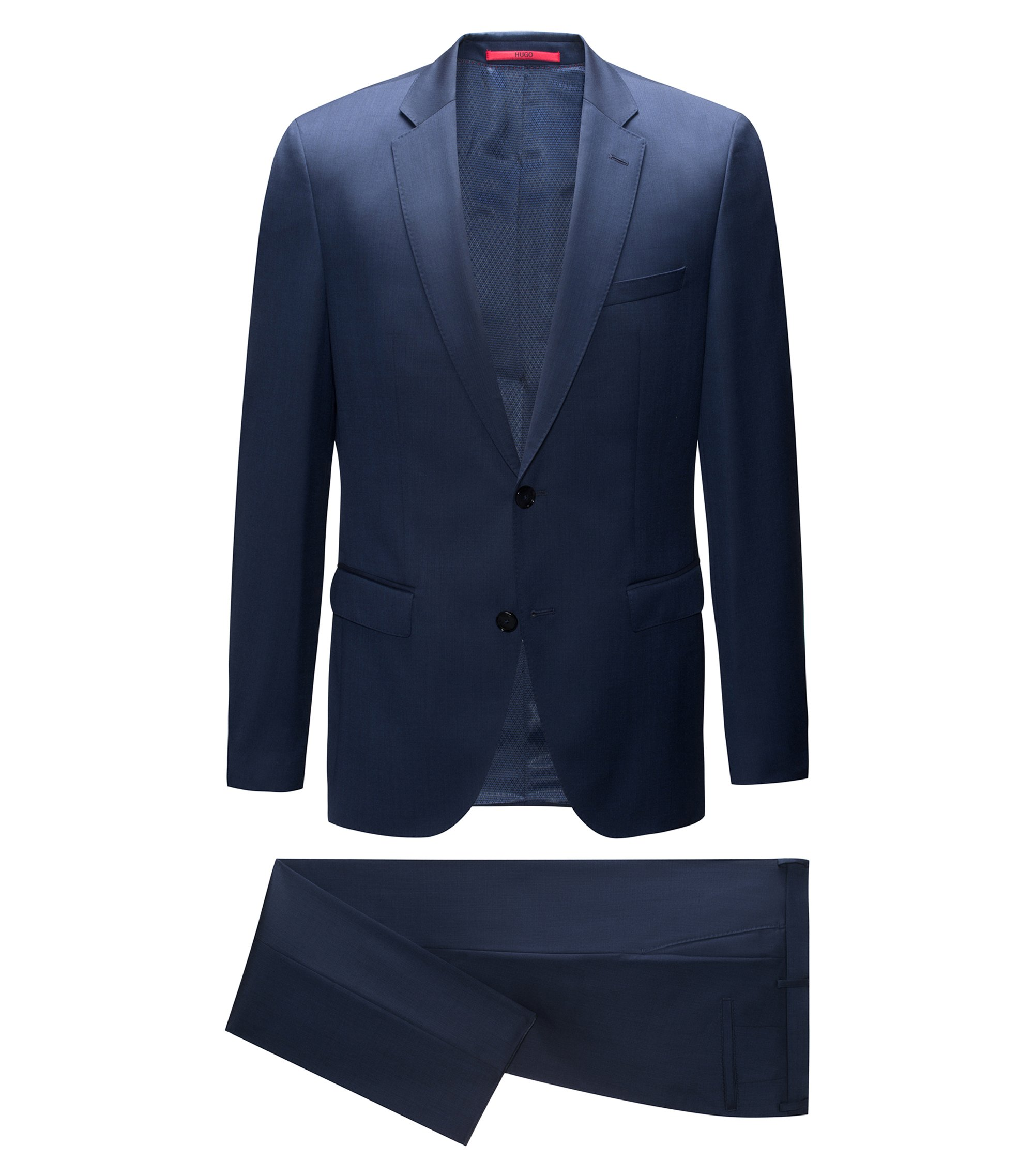 Regular-fit suit in two-tone virgin wool, Dark Blue