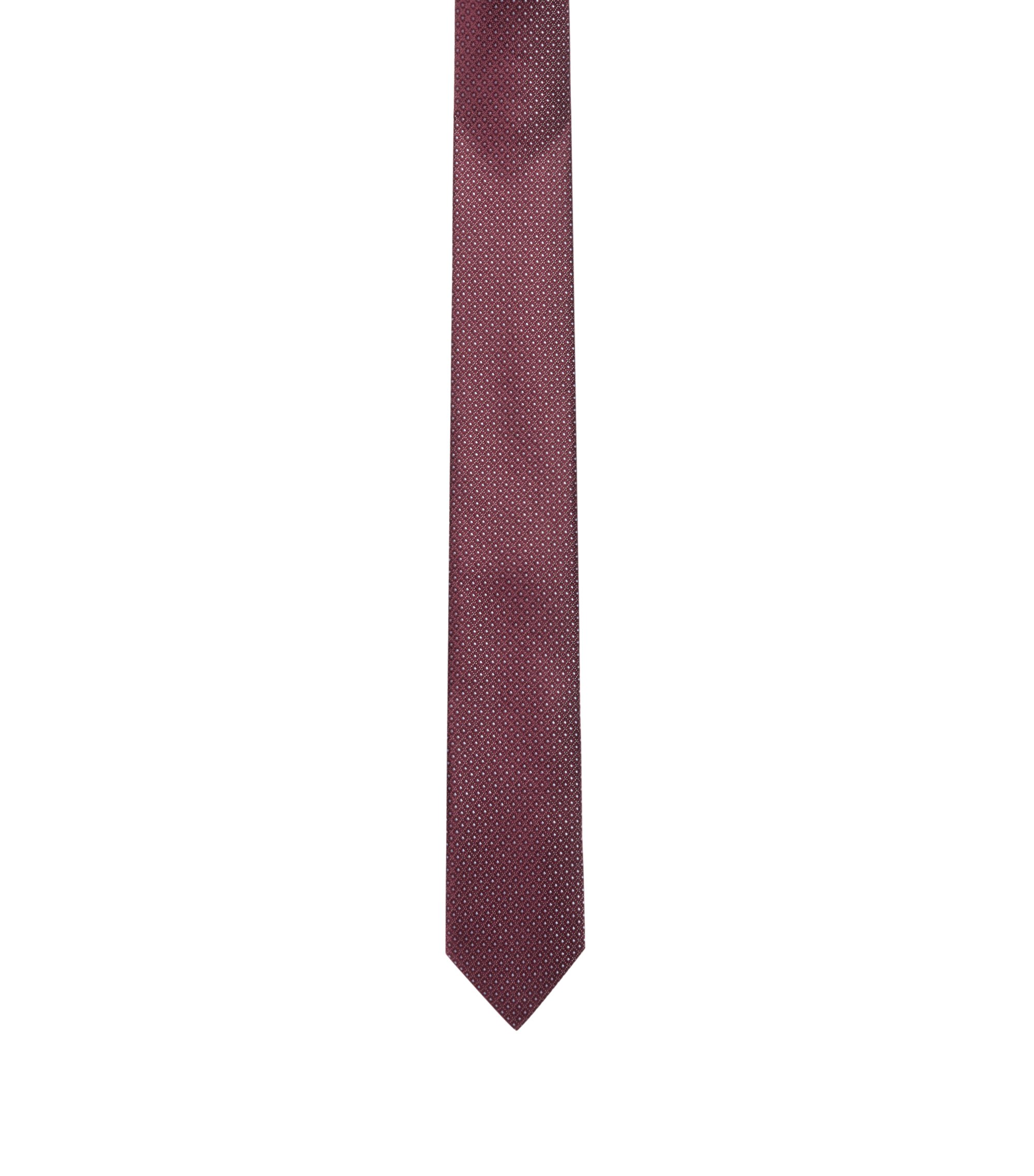 Micro-pattern tie in pure silk, Dark Red