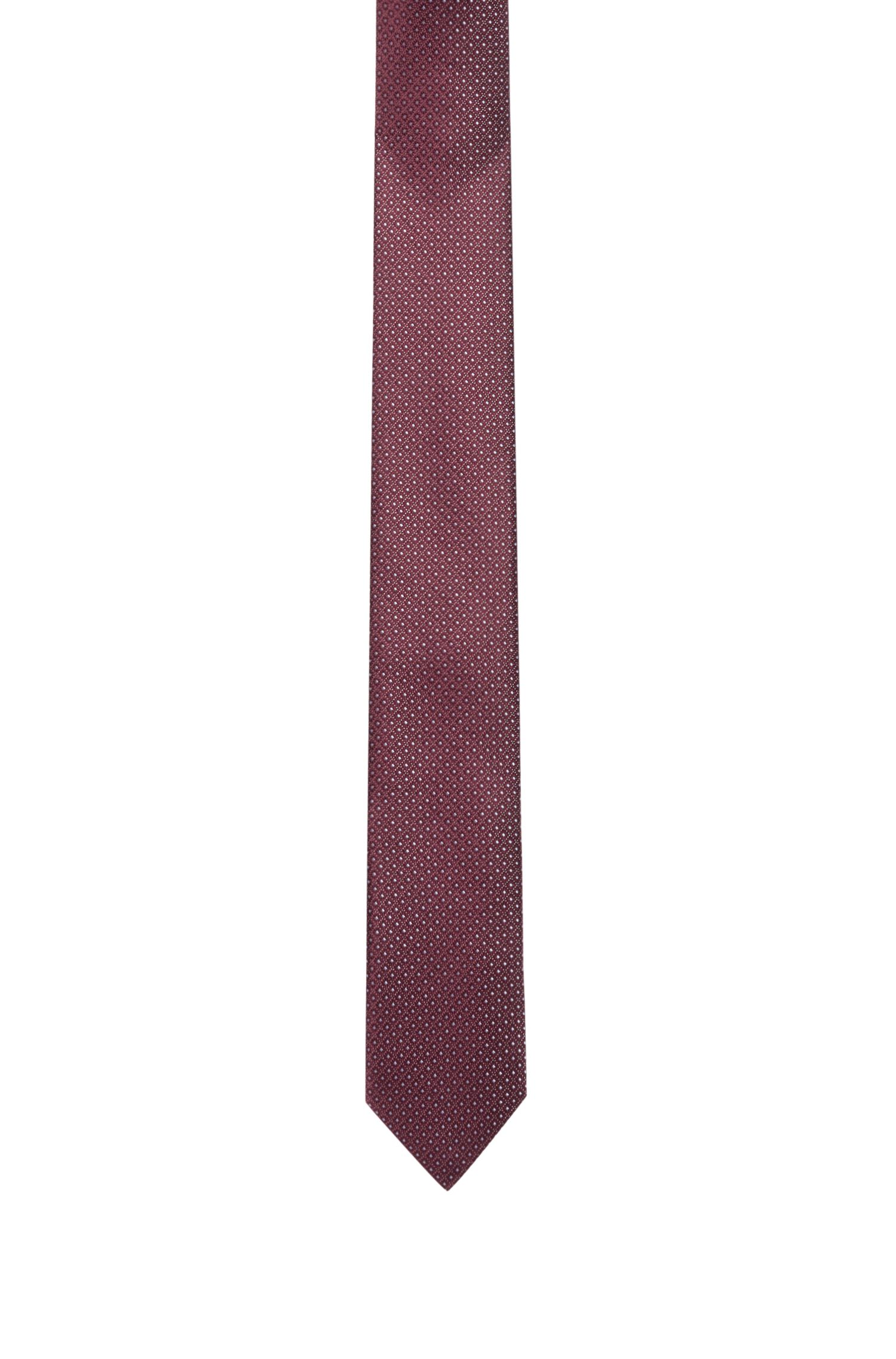 Micro-pattern tie in pure silk