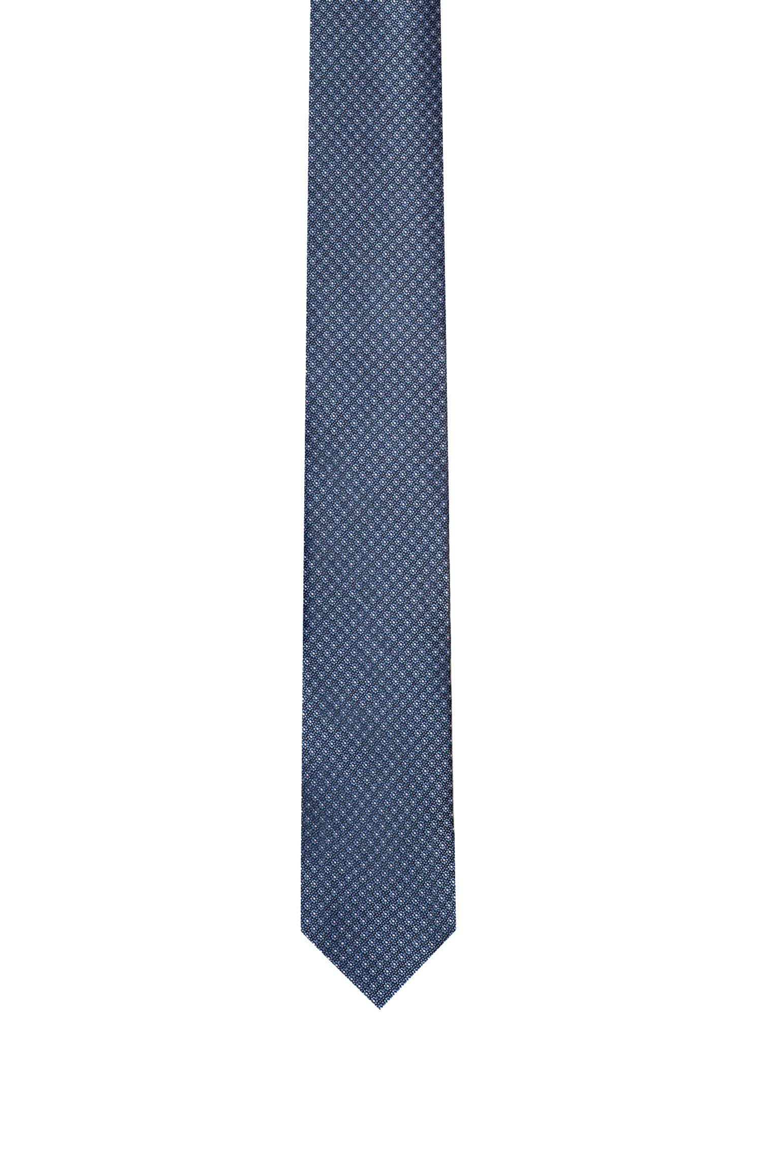 Micro-pattern tie in pure silk