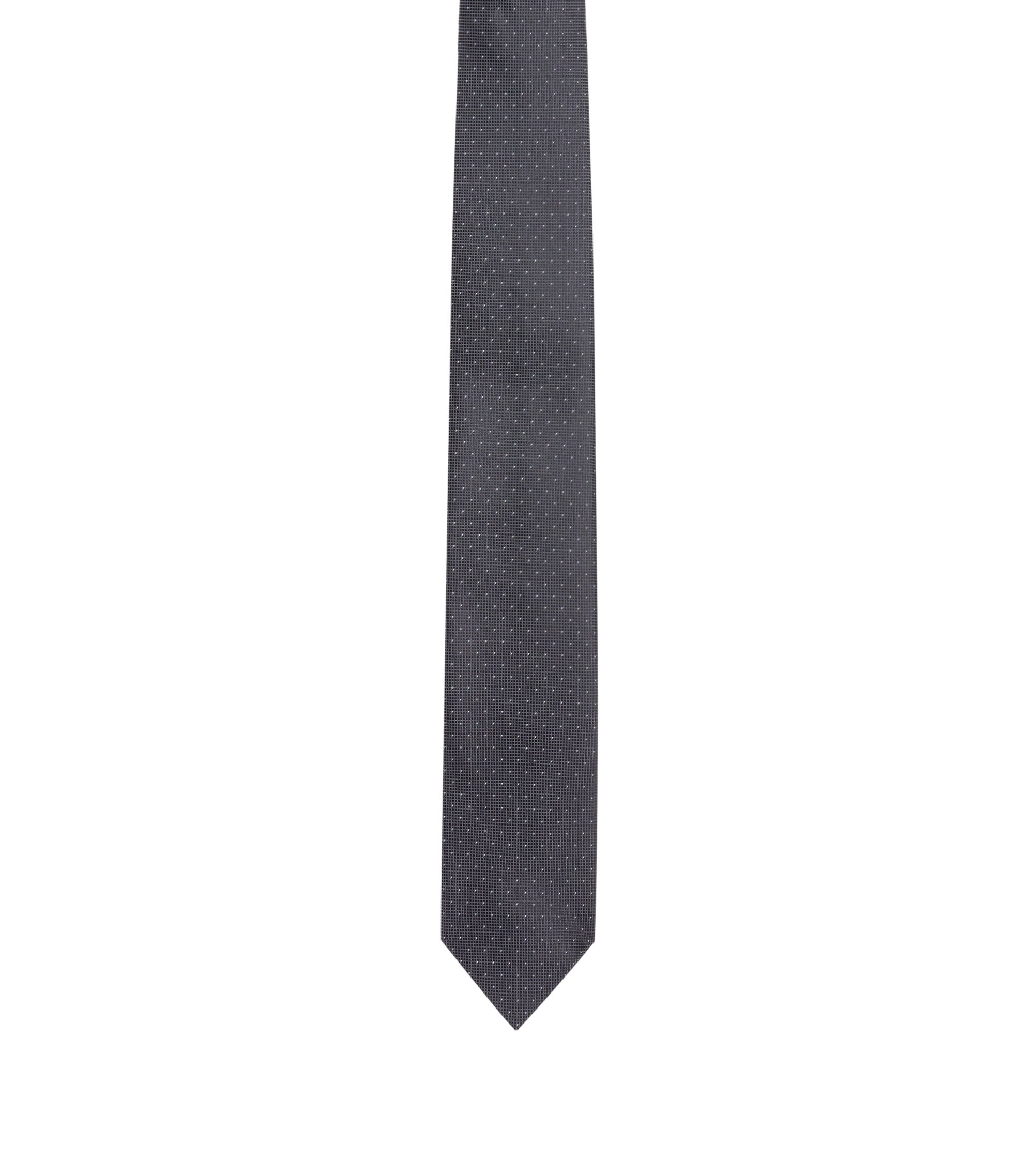 Micro-dot tie in pure silk, Black