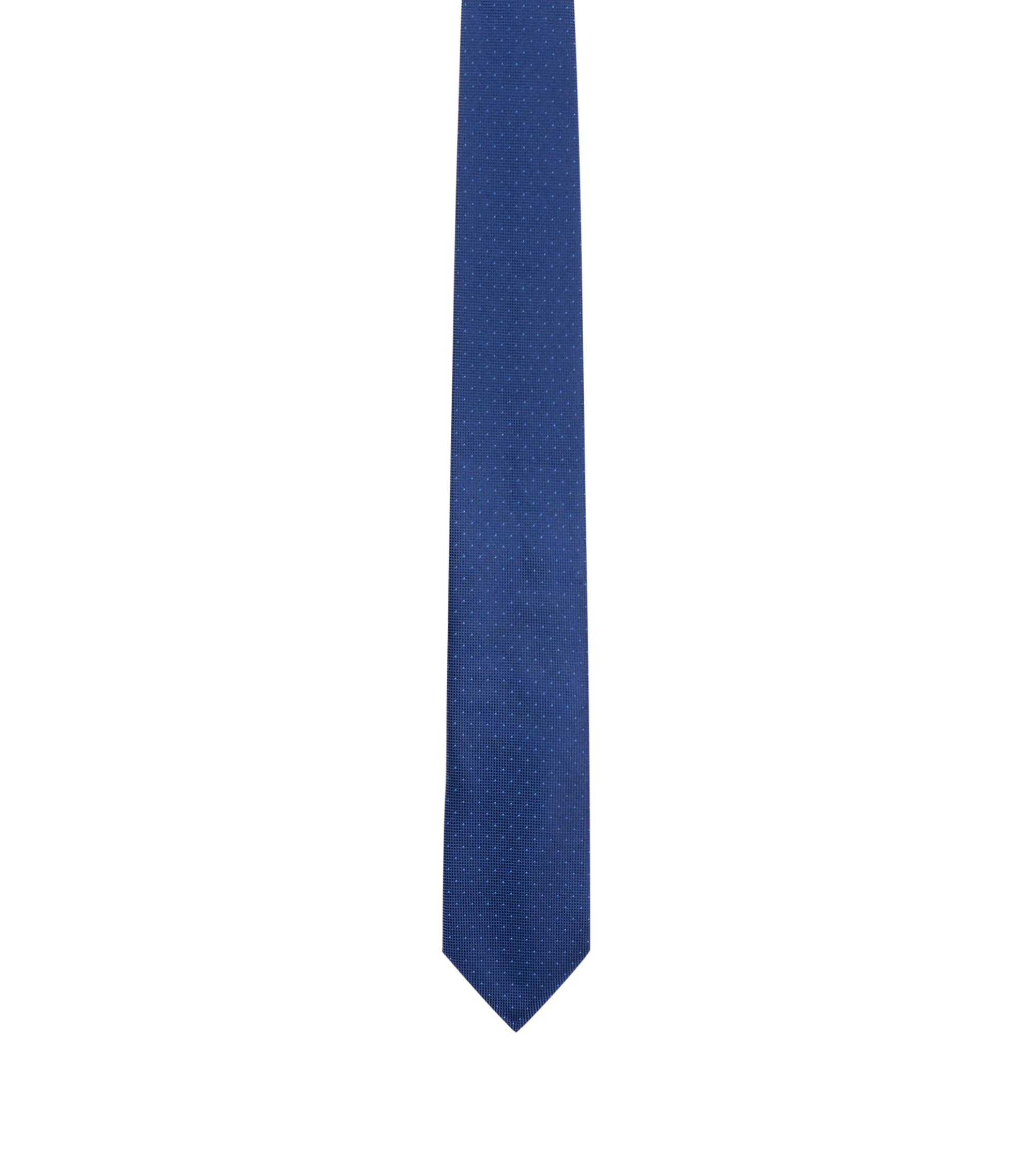 Micro-dot tie in pure silk, Dark Blue