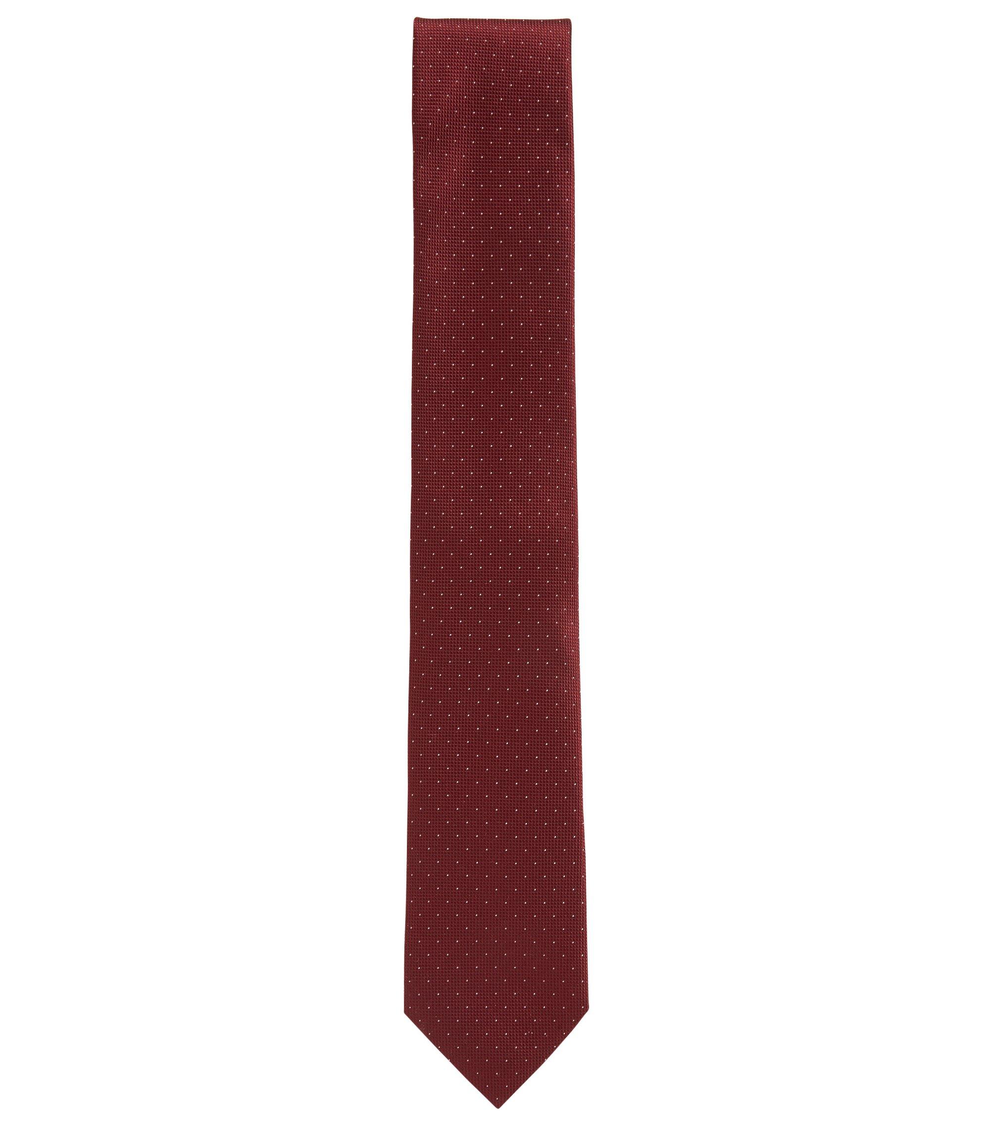 Cravate en pure soie à micro-pois, Rouge sombre