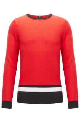 Colour-block sweater in structured-knit cotton, Red