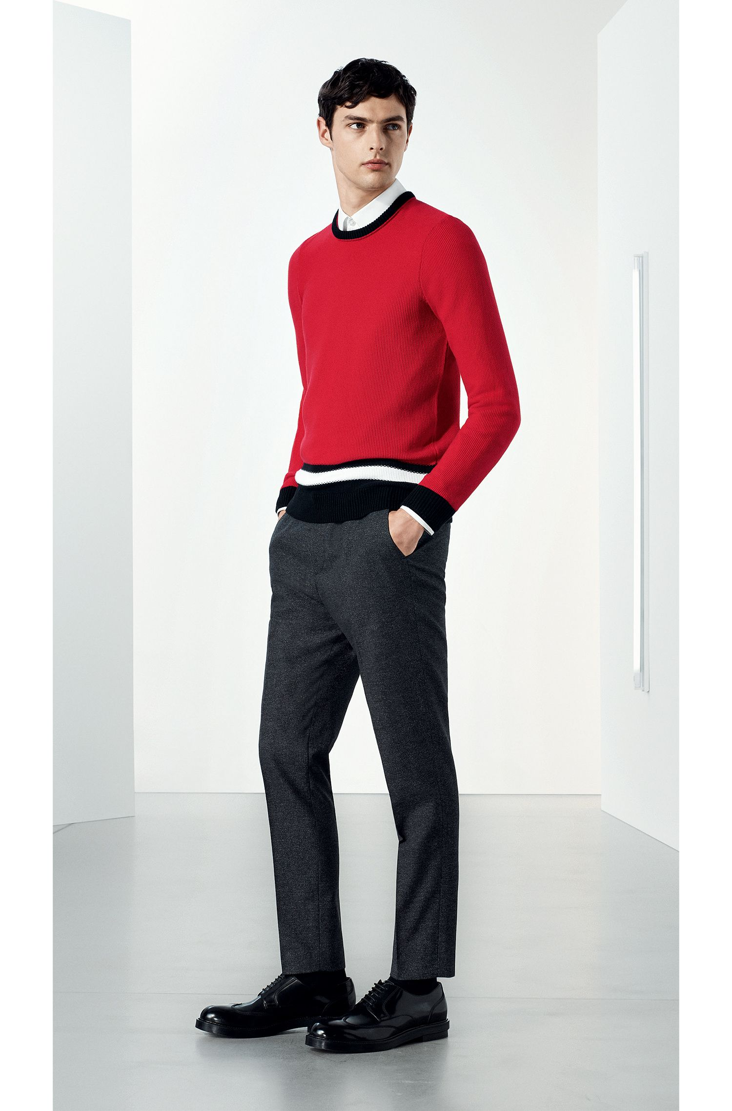 Colour-block sweater in structured-knit cotton