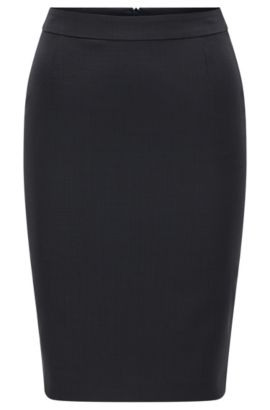 Regular-fit stretch wool pencil skirt, Patterned