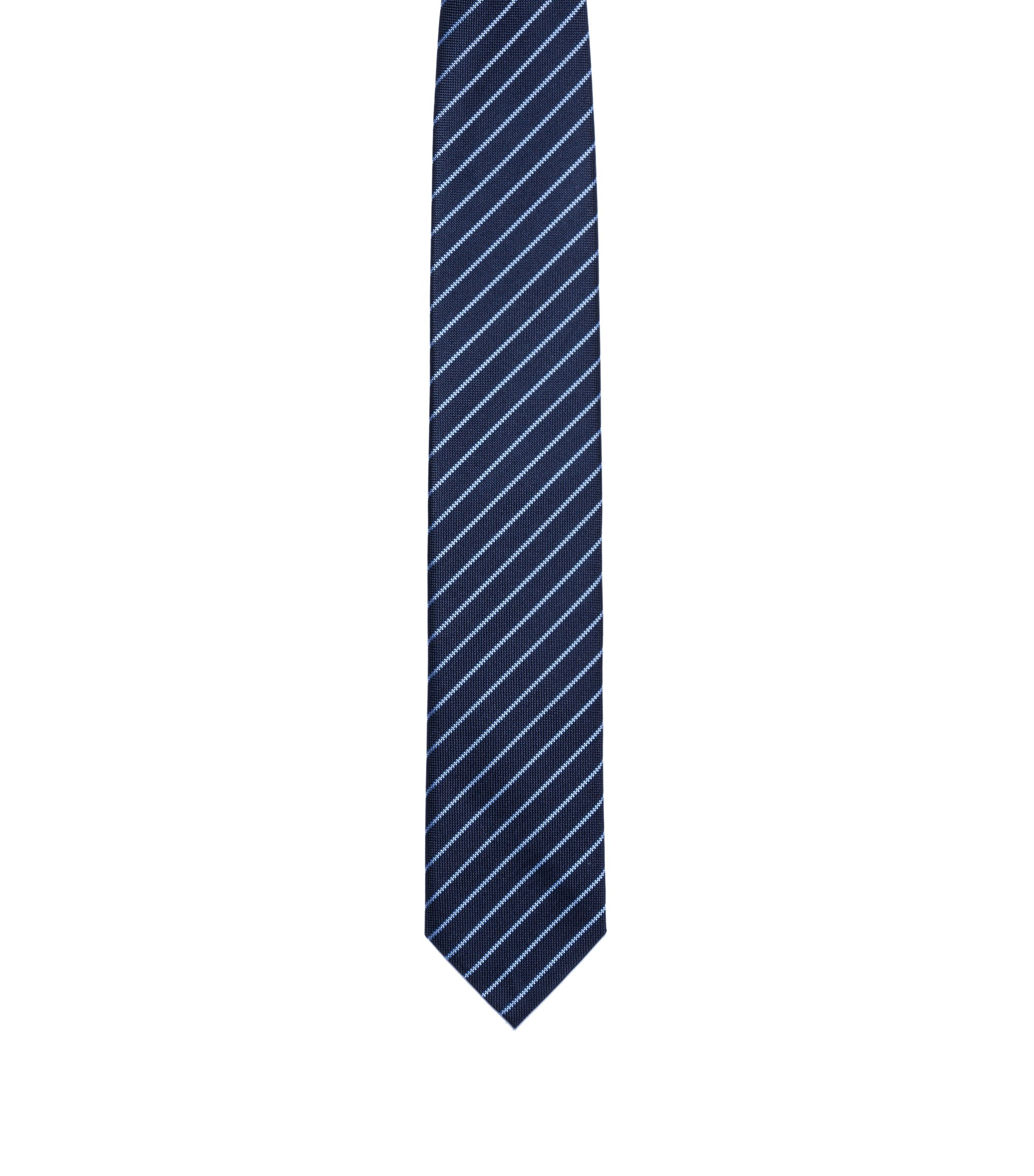 Silk tie with diagonal stripe pattern , Dark Blue