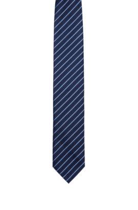 Silk tie with diagonal stripe pattern , Dark Blue