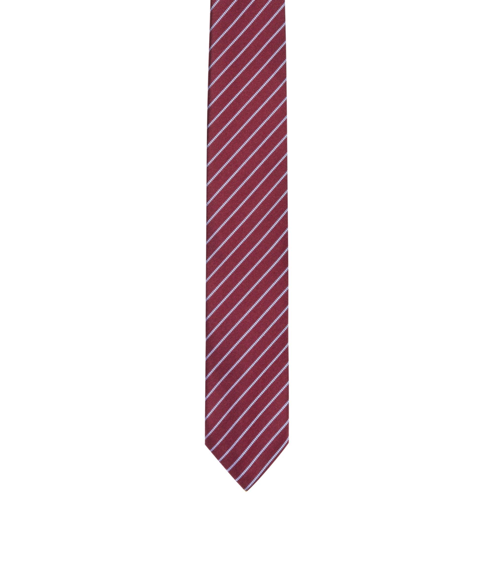 Cravatta in seta con motivo a righe diagonali , Rosso scuro