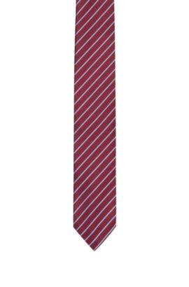 Cravate en soie à rayures diagonales , Rouge sombre