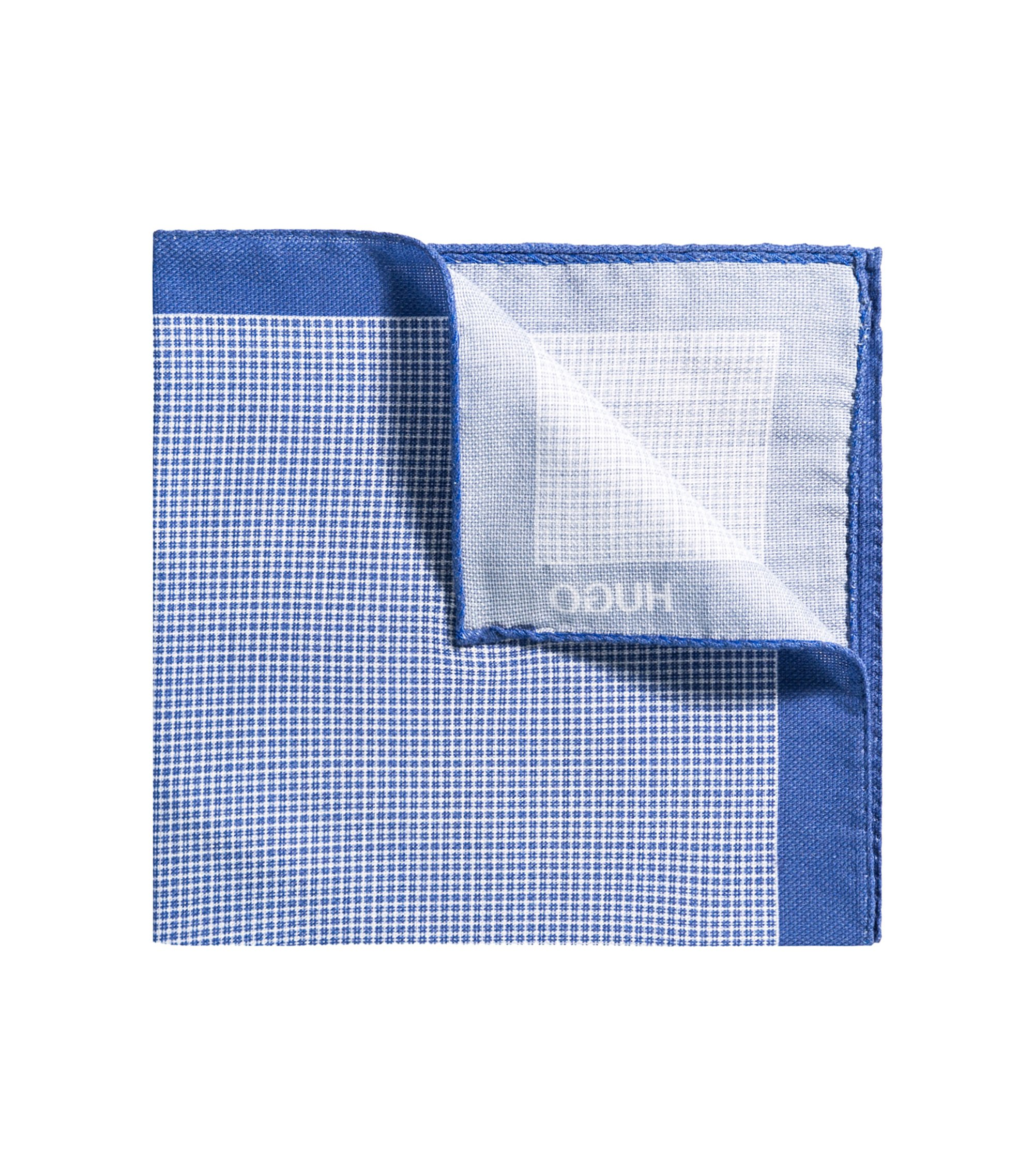 Checked pocket square with border in pure cotton, Blue