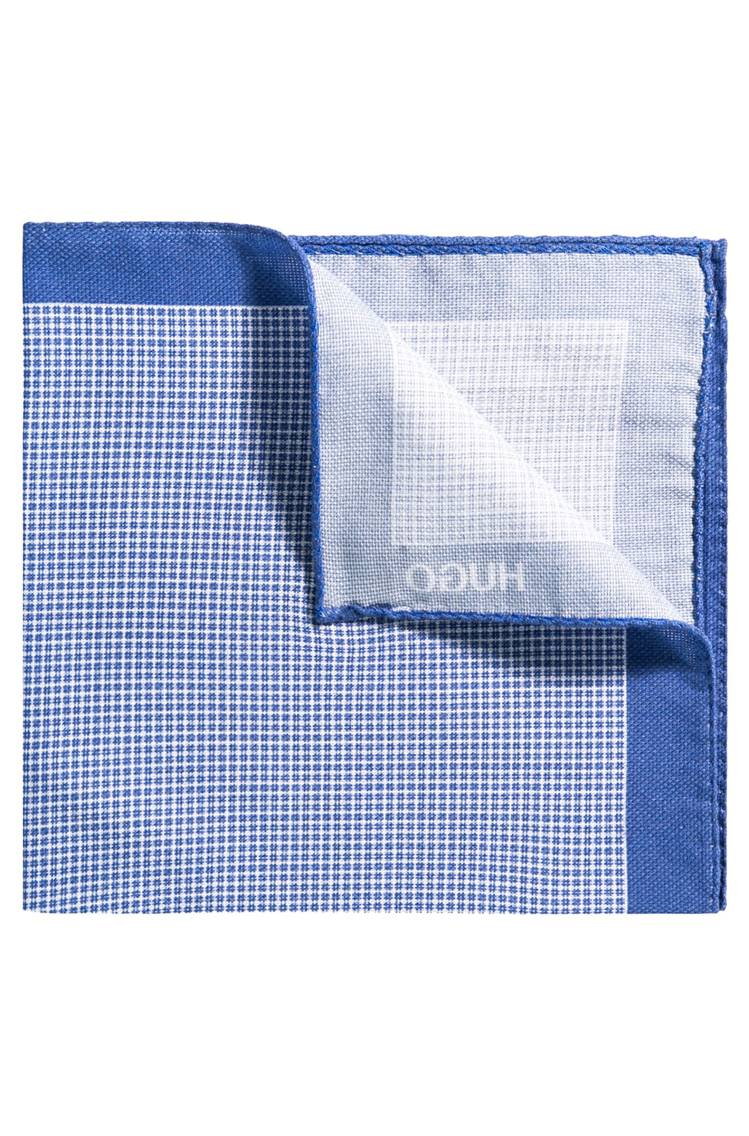 Checked pocket square with border in pure cotton
