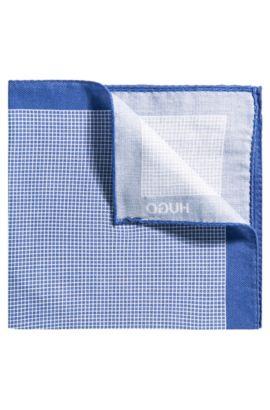 Pochette à carreaux en pur coton avec bordure, Bleu