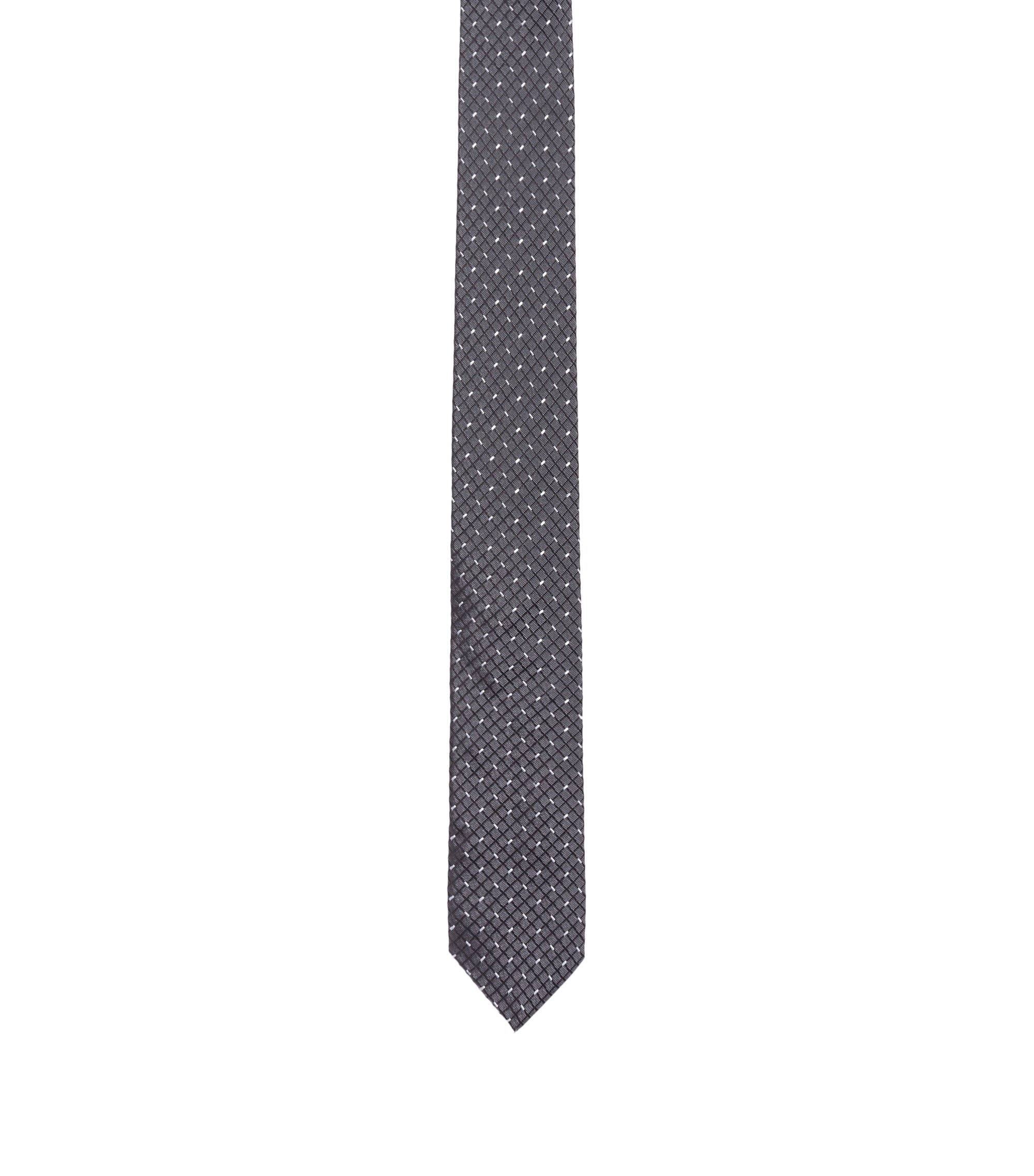 Modern diagonal check tie in pure silk, Black