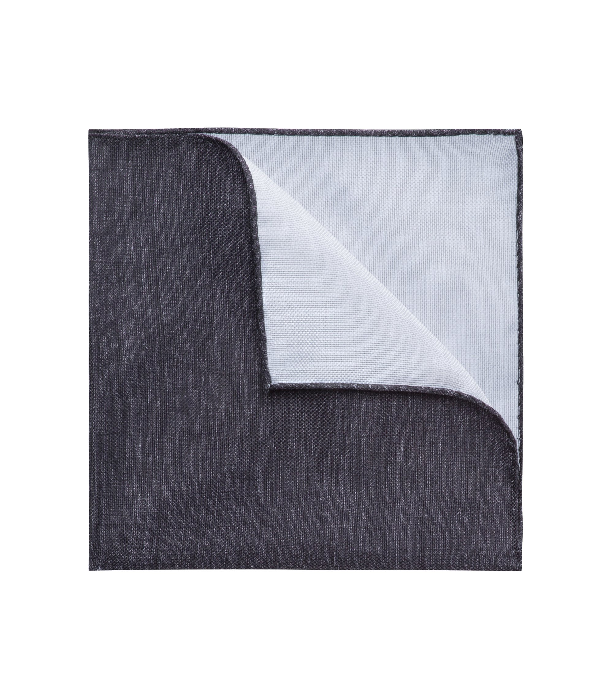 Marled pocket square in pure cotton, Black
