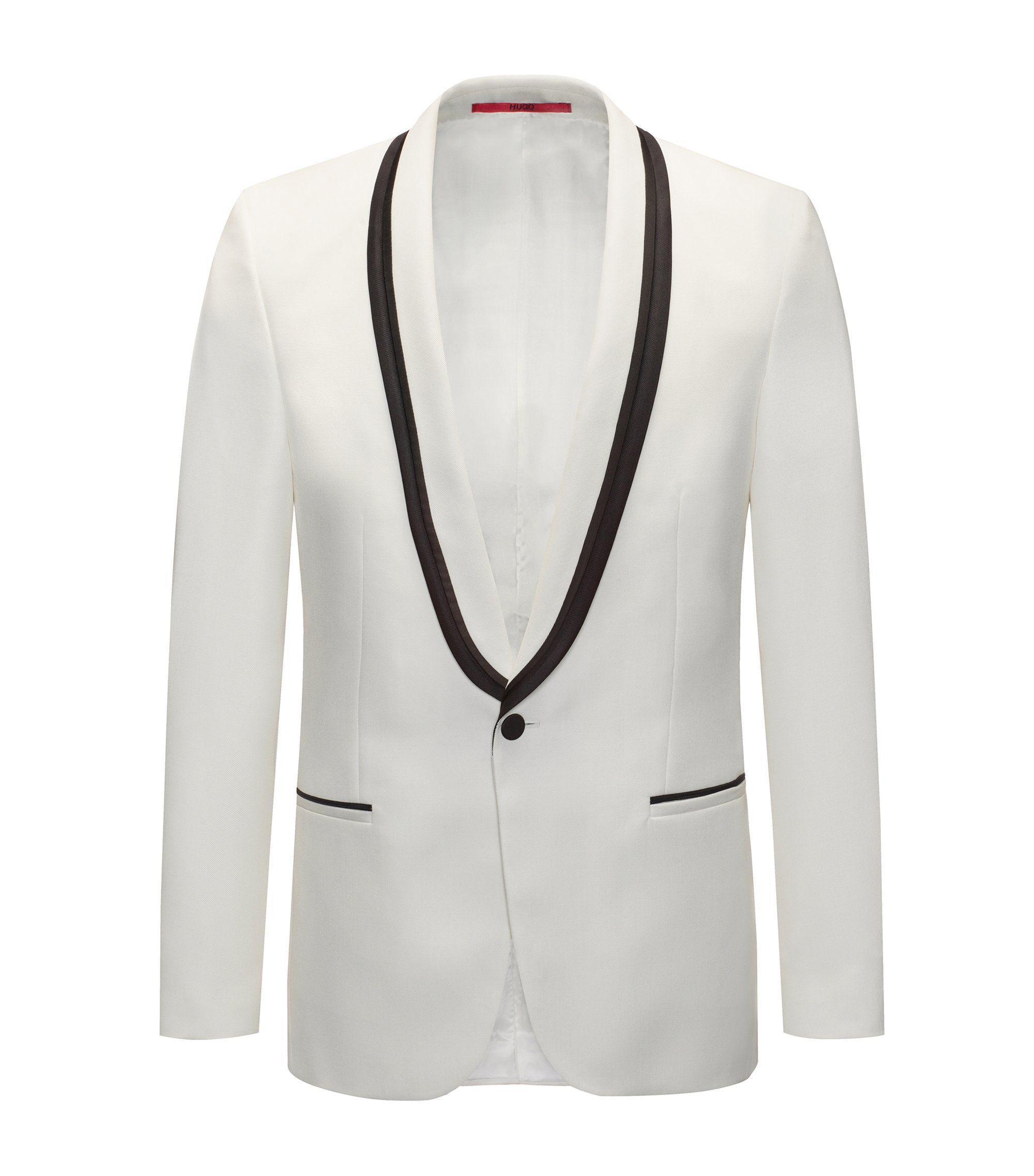 Extra-slim fit tuxedo jacket with piping detail, Natural