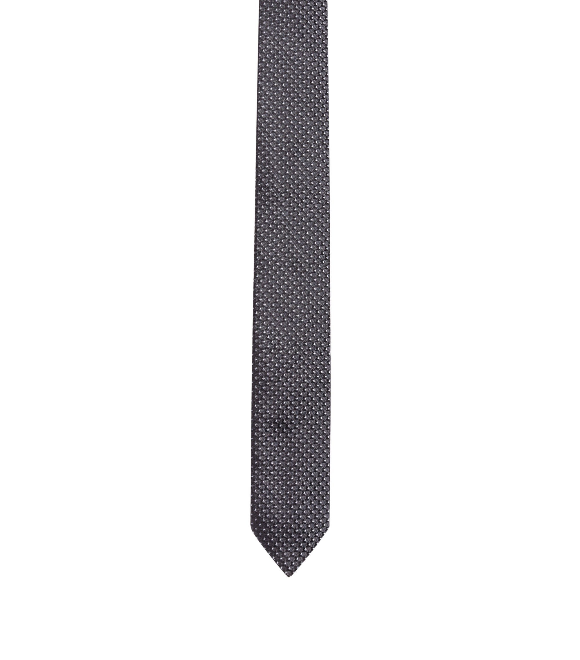 Geometric patterned tie in silk jacquard, Black