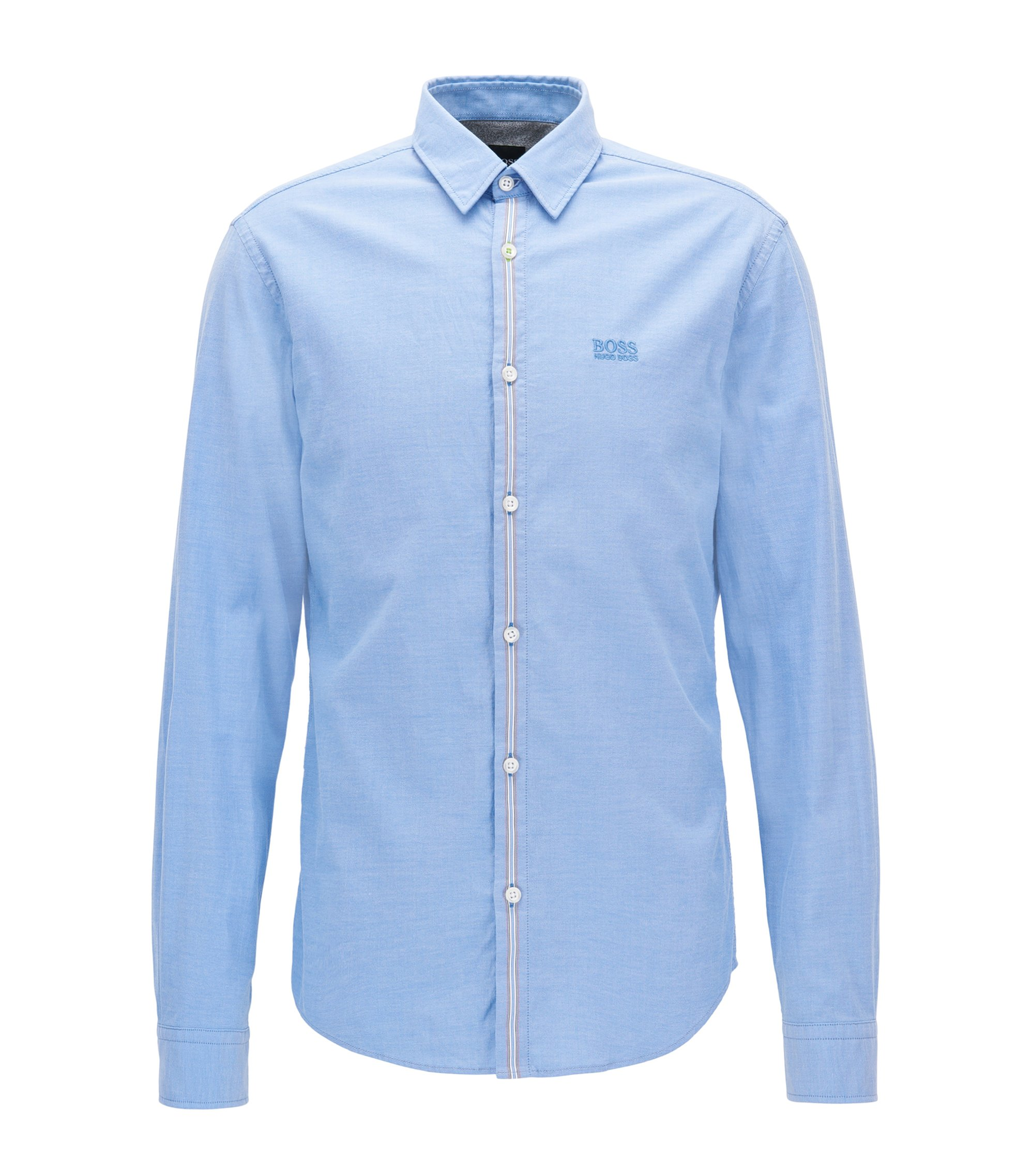 Camisa regular fit en algodón Oxford elástico, Celeste