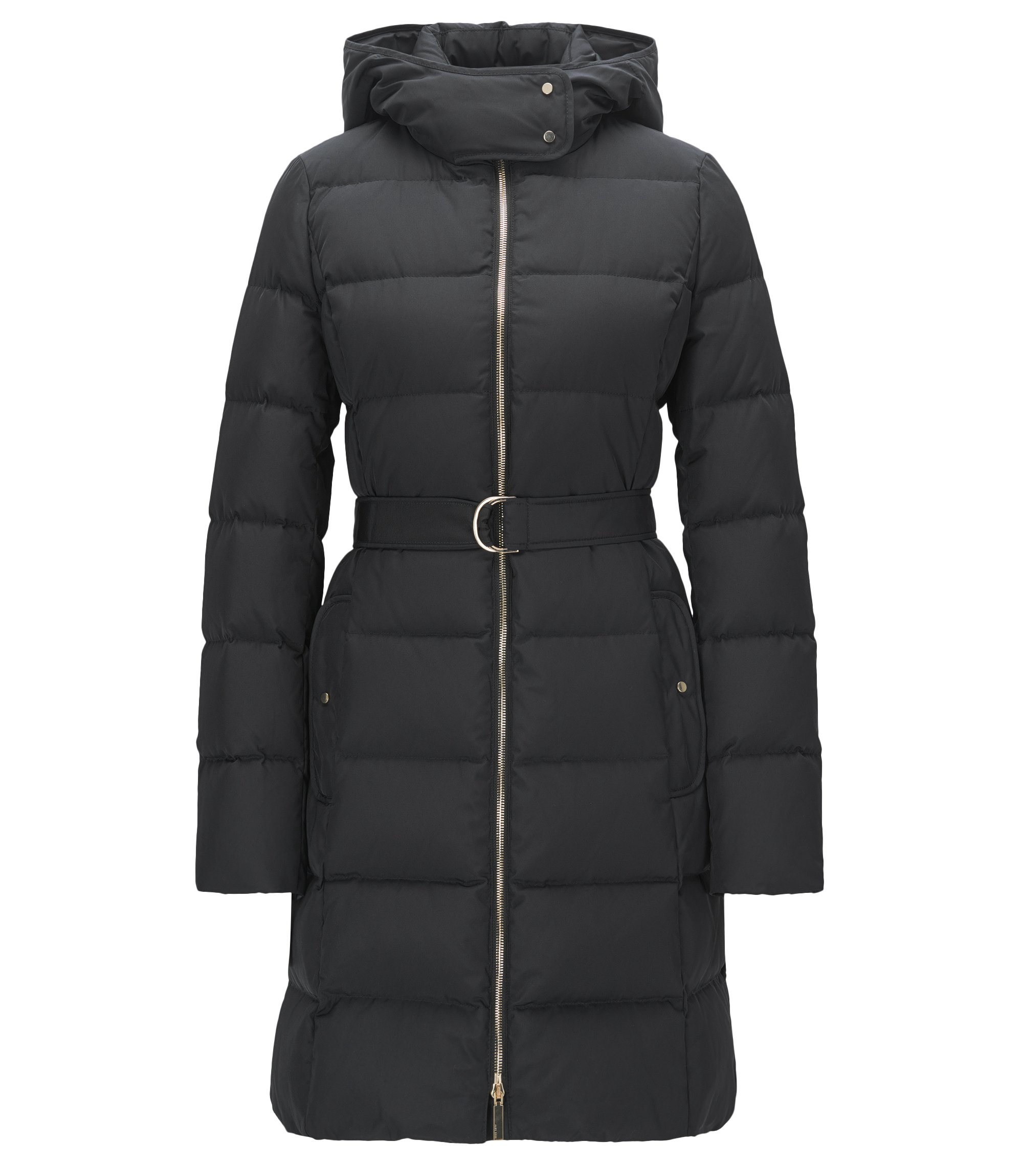 Quilted down coat with detachable hood and belted waist, Black