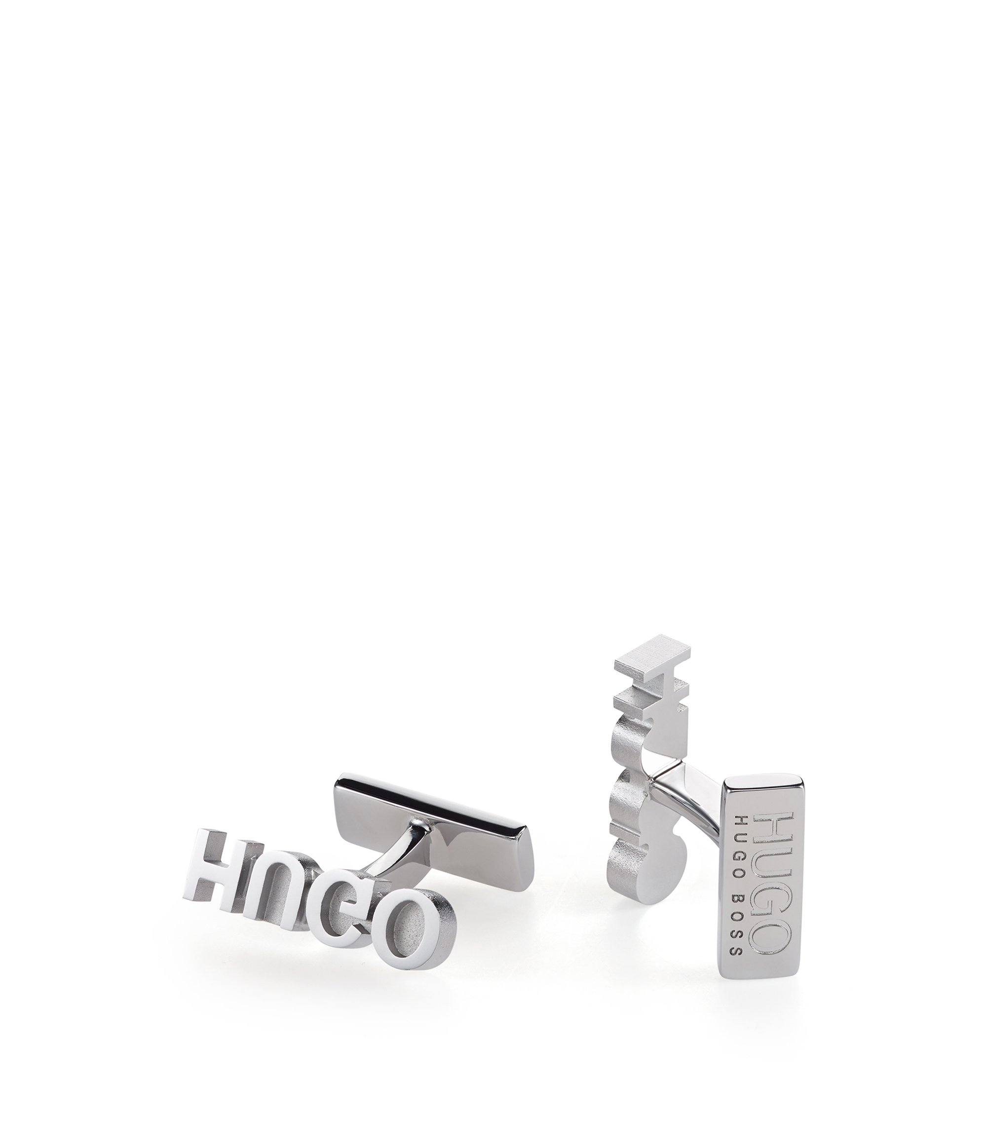 Reverse logo cufflinks in polished metal, Silver