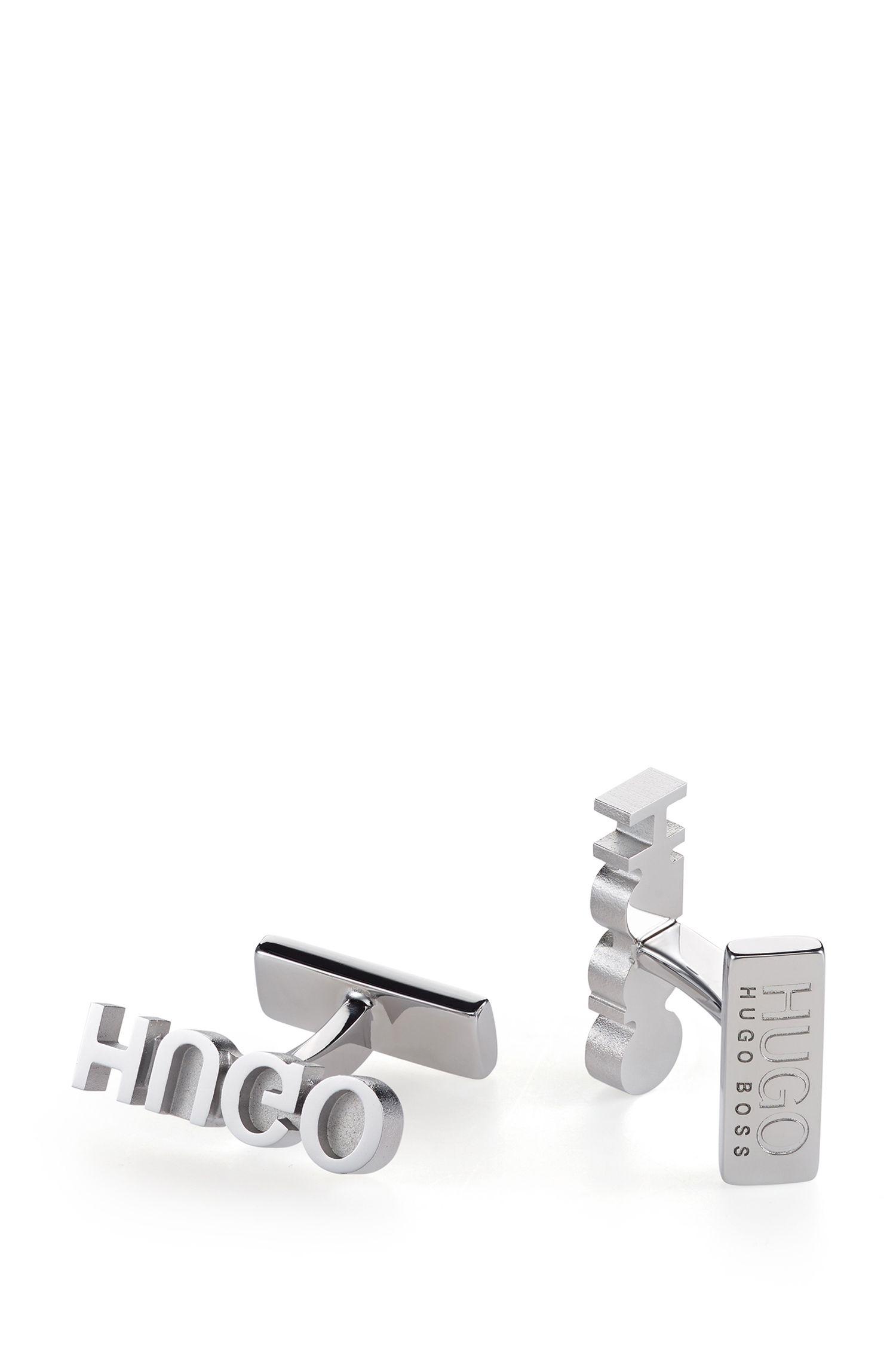Manchetknopen van gepolijst metaal met gespiegeld logo, Zilver