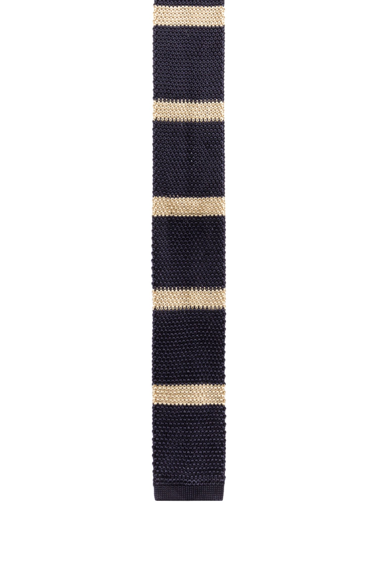 Heavy-knit striped tie with a squared end
