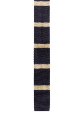 Heavy-knit striped tie with a squared end, Dark Blue
