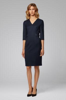 94f4357ac32d5 V-neck dress in stretch virgin wool
