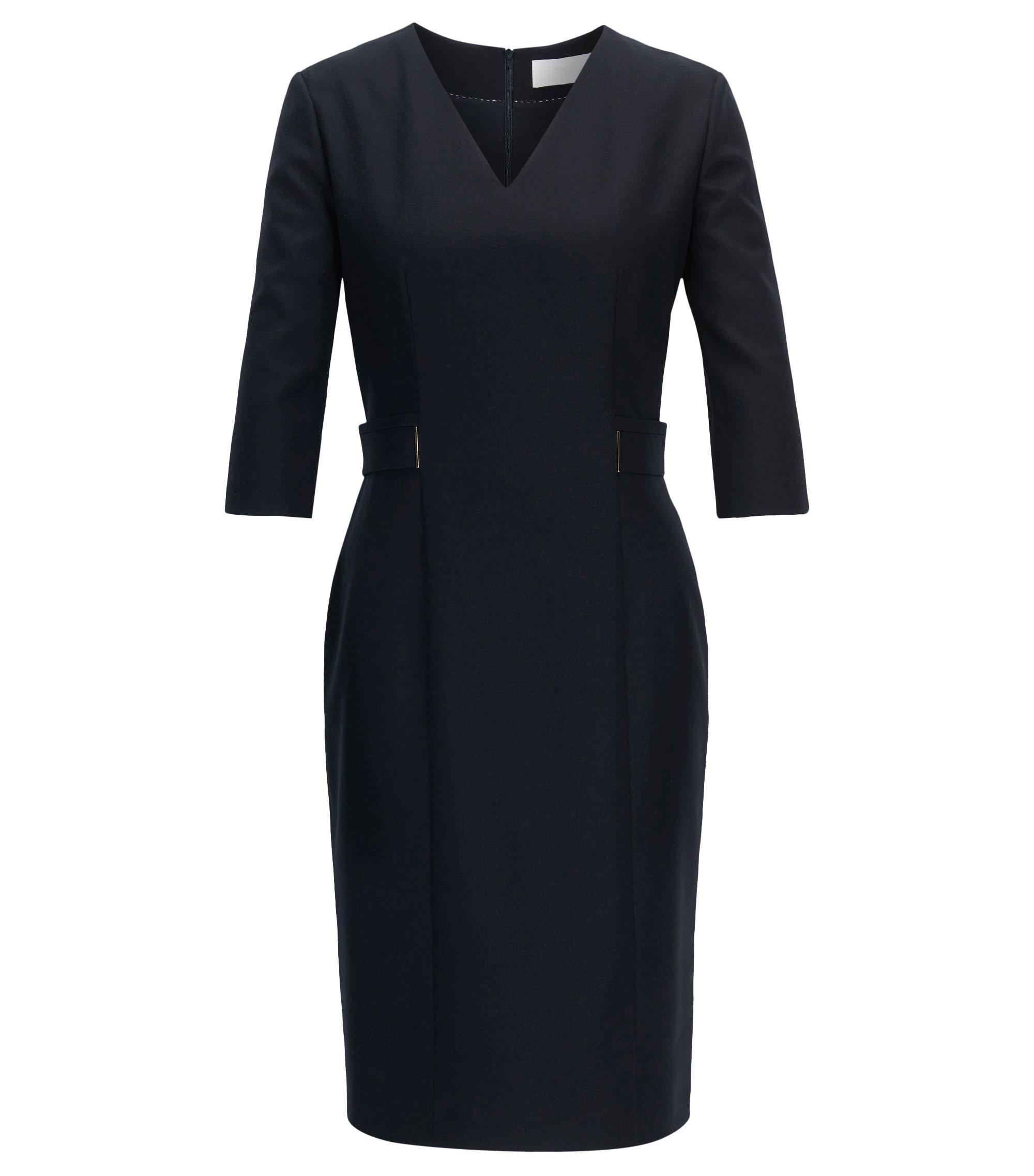 Regular-Fit Kleid aus Stretch-Schurwolle mit V-Ausschnitt, Dunkelblau