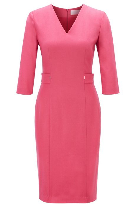 Robe col V en laine vierge stretch, Rose