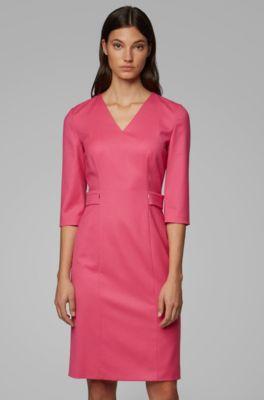 info for 18b86 3764e Regular-Fit Kleid aus Stretch-Schurwolle mit V-Ausschnitt