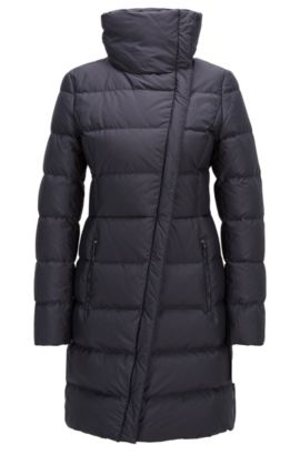 Regular-fit water-repellent down jacket with oversized collar, Dark Blue