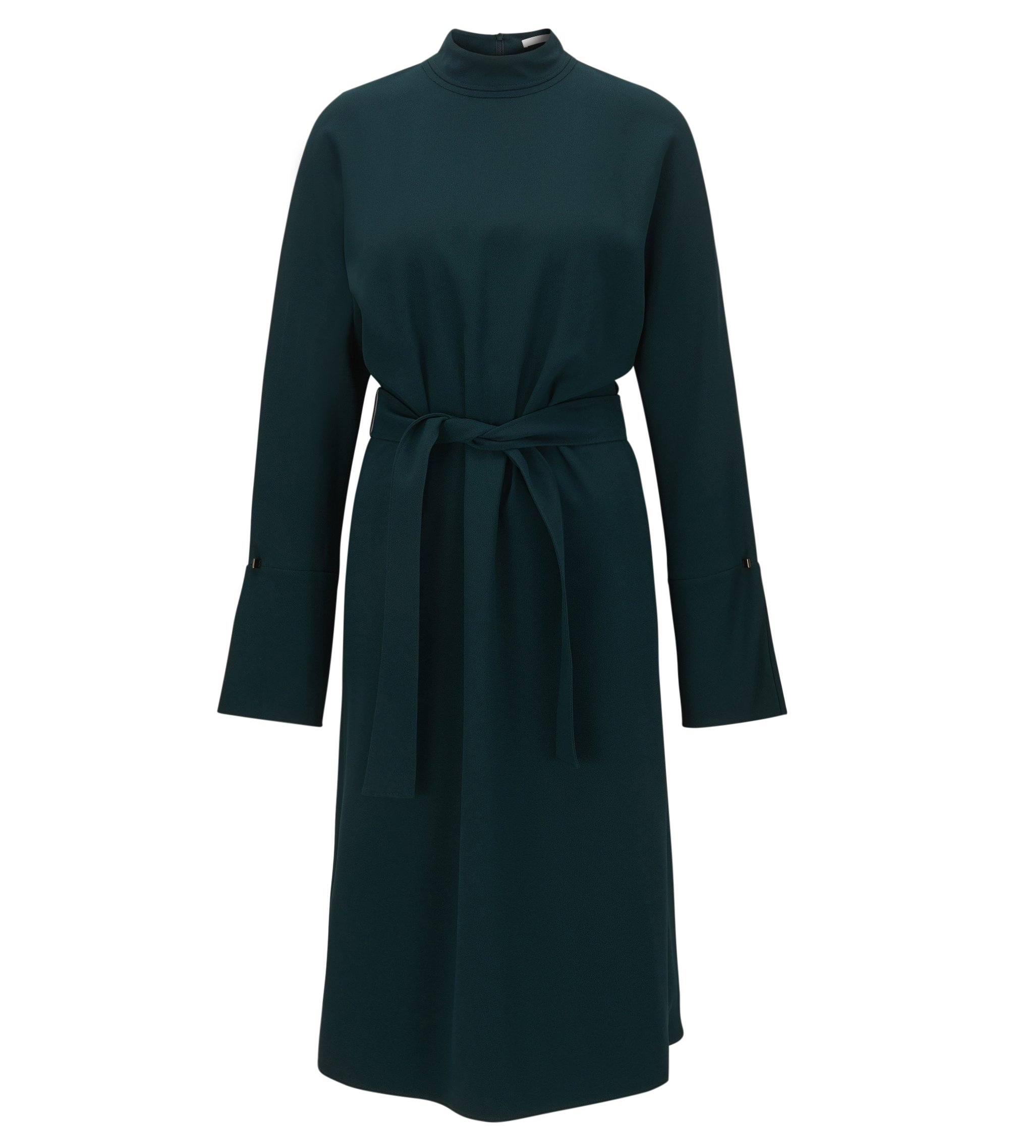 Long-sleeved turtle-neck dress in draped fabric, Dark Green
