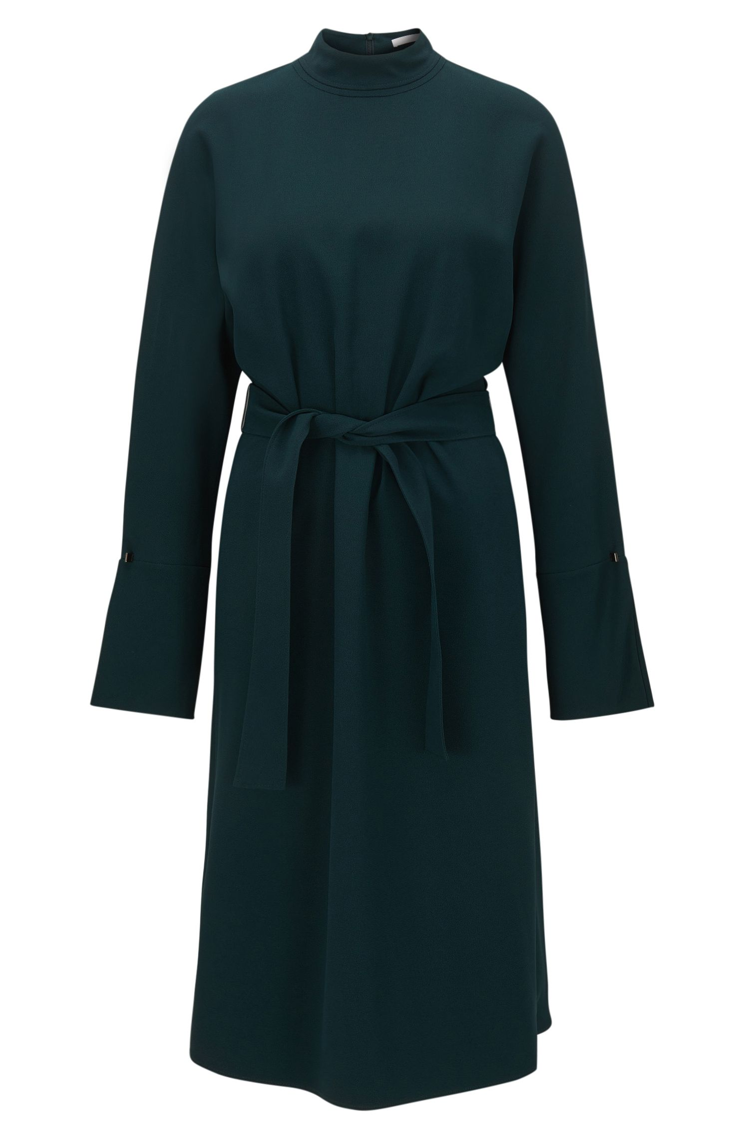 Hochgeschlossenes Kleid aus drapiertem Material-Mix mit langen Ärmeln