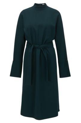 Long-sleeved turtle-neck dress in draped fabric, Dark Green