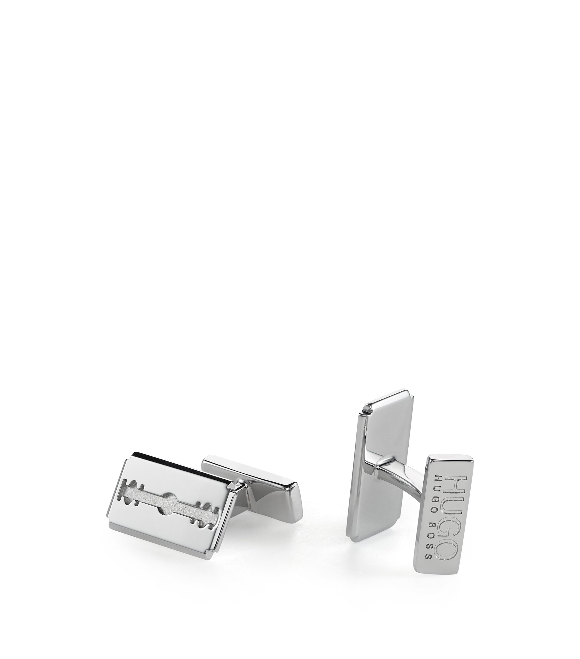 Polished metal cufflinks with razor blade design, Silver