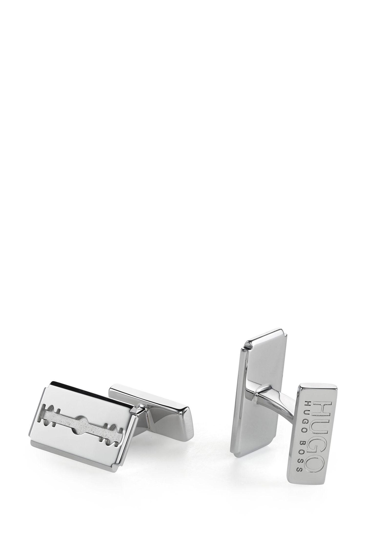 Boutons de manchette en métal poli au design lame de rasoir
