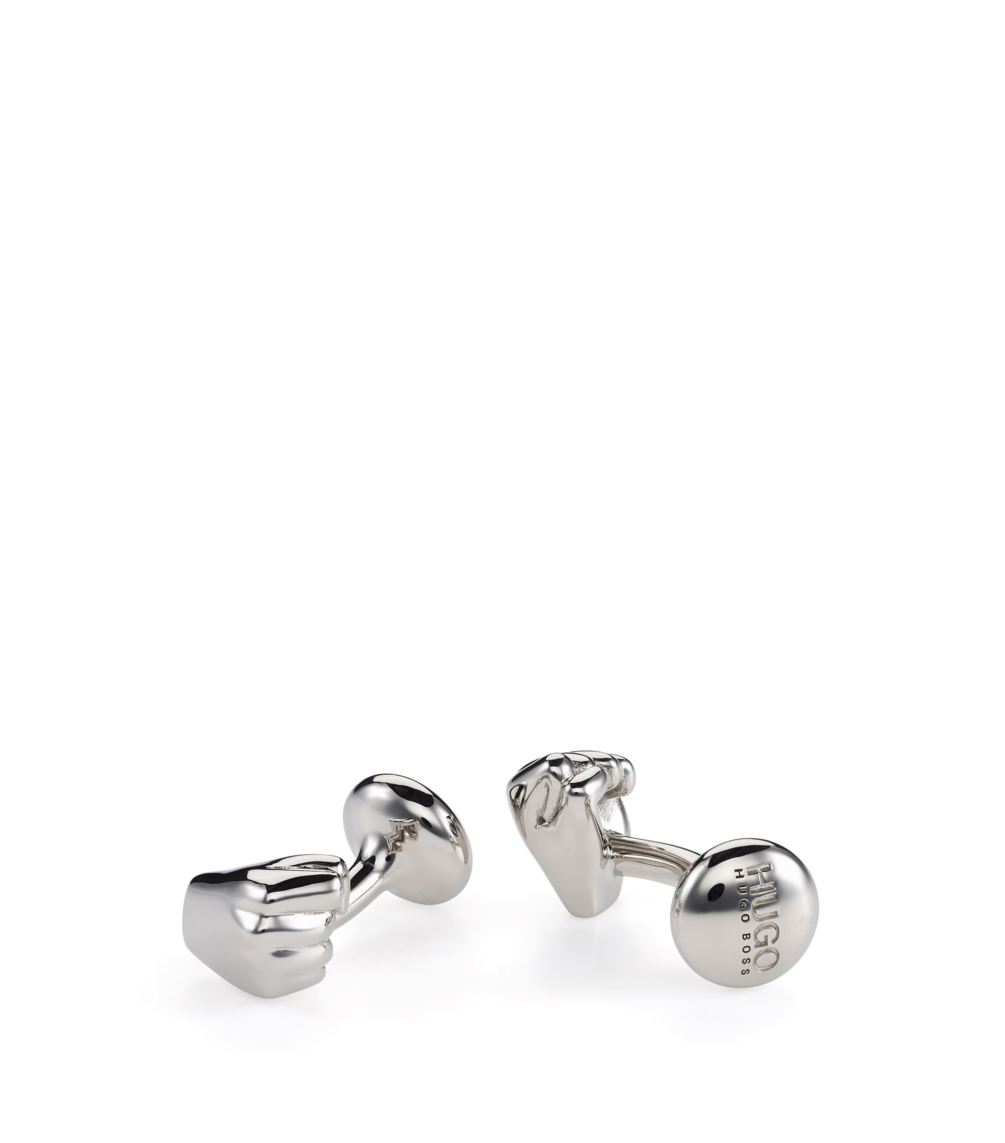 Clenched-fist cufflinks in polished metal , Silver