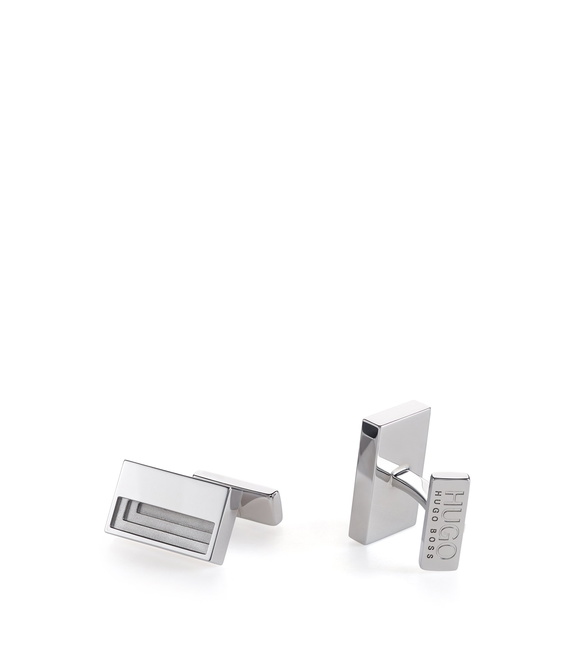 Tiered rectangular cufflinks in polished metal , Silver