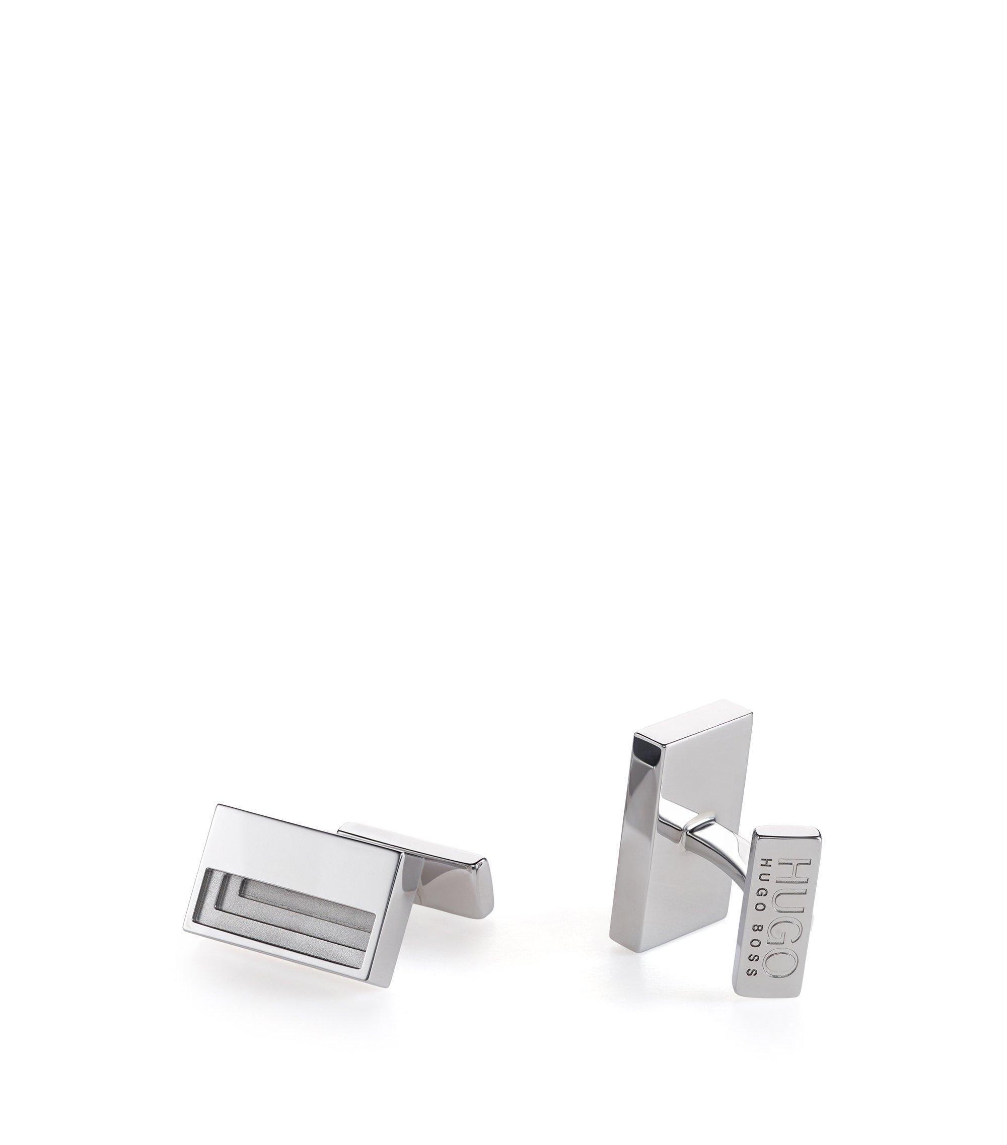 Rechteckige Manschettenknöpfe aus poliertem Messing mit abgestuftem Detail , Silber