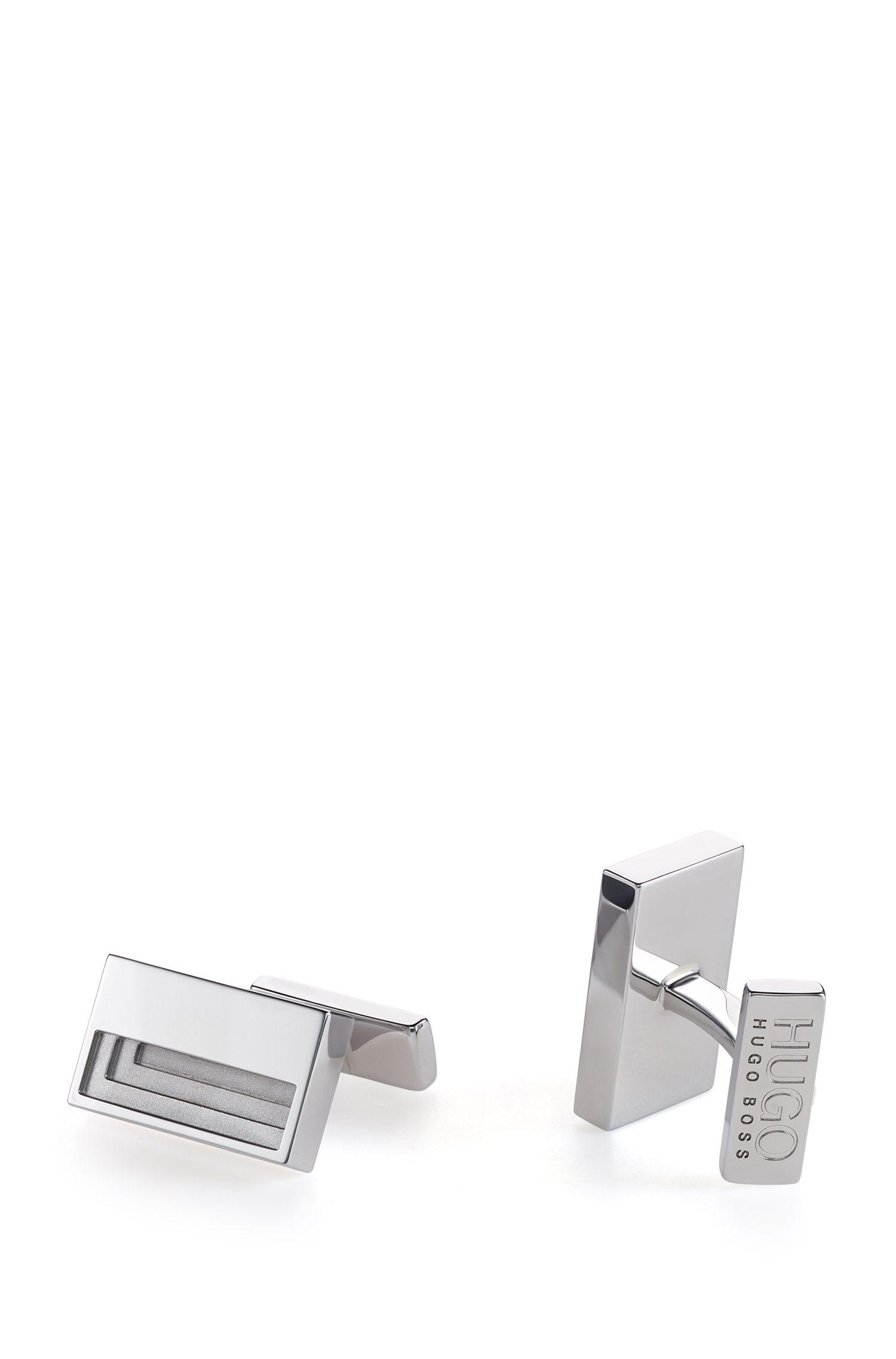 Boutons de manchette rectangulaires en métal poli, au design échelonné