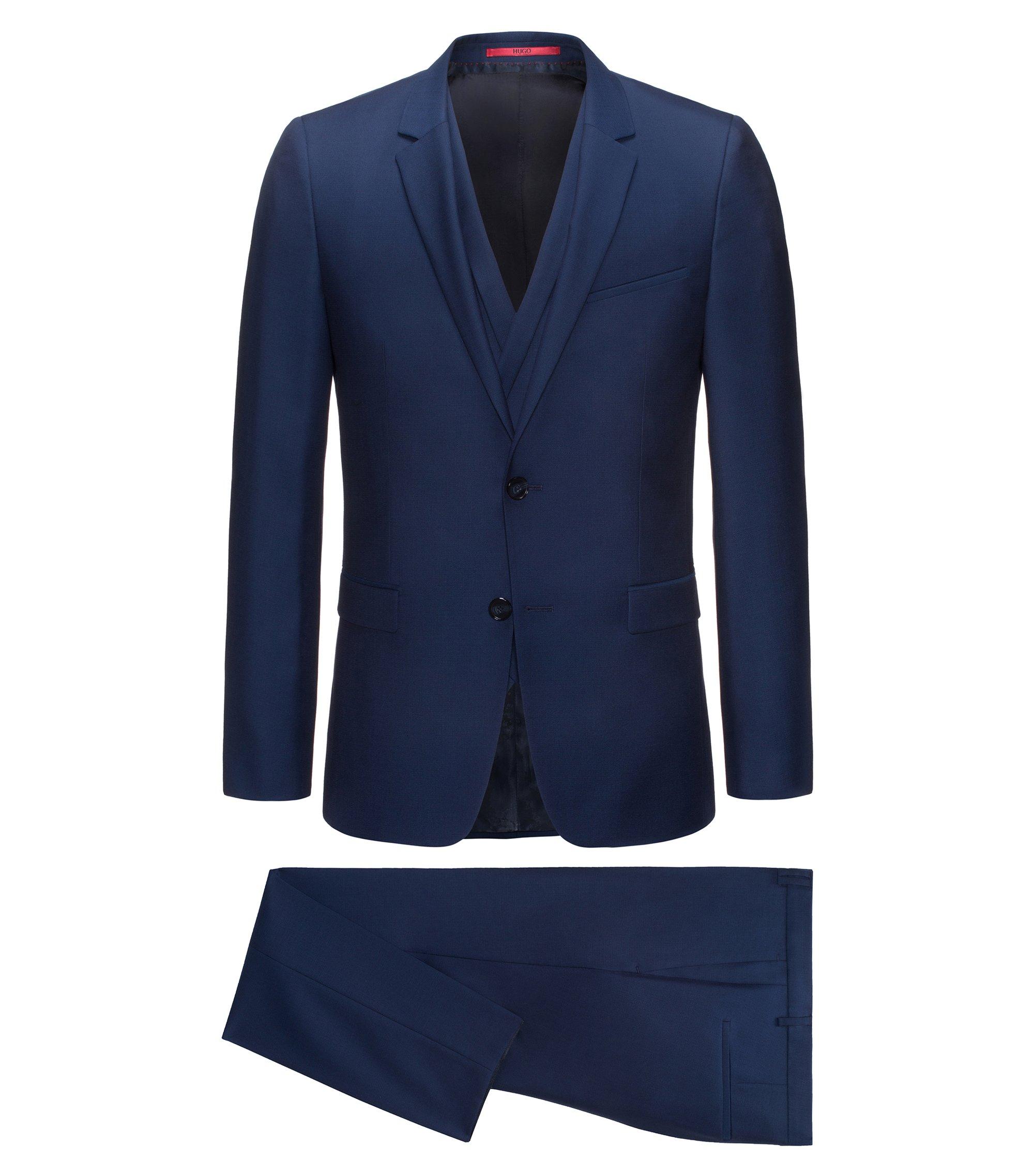 Costume trois pièces Extra Slim Fit en laine vierge, avec gilet croisé, Bleu foncé