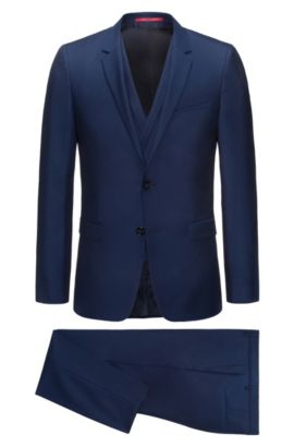 Extra-slim-fit three-piece suit in virgin wool with double-breasted waistcoat, Dark Blue