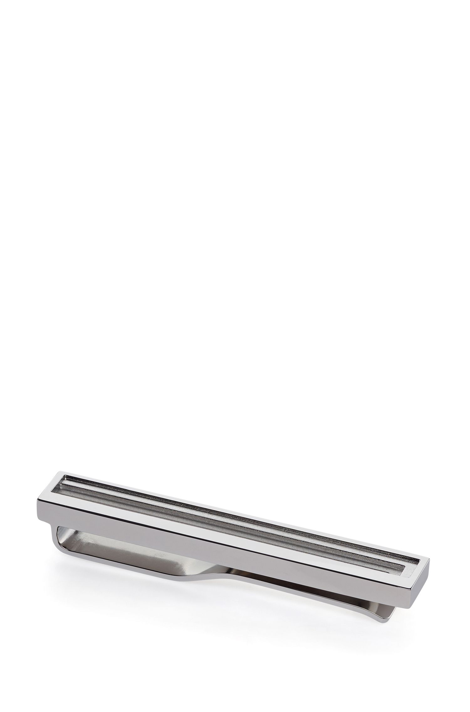 Tiered tie clip in polished metal with fix fastening